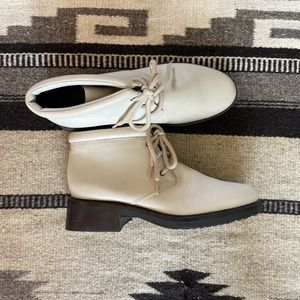 Vintage white taupe lace up booties